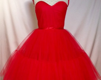 Sew Queen of Hearts...Red Tulle and Creamy Mesh Prom Dress Made to Order Other Colours Available