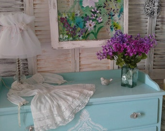 Baby changing dresser,nursery furniture,Mint dresser,damask stenciled dresser,Shabby chic dresser,Aqua changing table,Pastel dresser