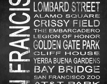 San Francisco 2 Subway Sign Fine Art Canvas Gallery Wrap   Modern Chalkboard Typography