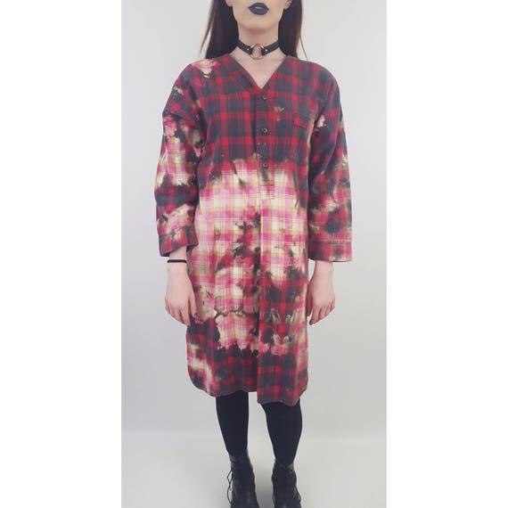 90's Tie Dye Bleach Flannel Dress - Bleached Plaid Flannel Baggy Shirt - Large Tiedye Tartan Button Up Top  - Long Sleeve Grunge Midi Dress