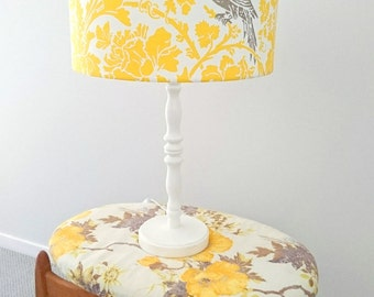 Cockatoo yellow and grey fabric lampshade - designer fabric large ceiling, table or floor lampshade - ready to post