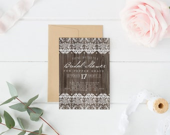 Rustic Lace Bridal Shower Invitations - Woodsy Wedding Shower Invites - Printed or Printable Invitations