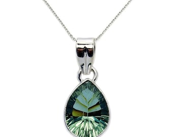 Reflections Valentines Day Gift Green Purple Color Change Alexandrite Pendant Necklace & 925 Sterling Silver Pendant Necklace  Chain AE64X