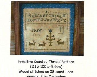 PrimitiveBettys - Bunny Sampler - Counted Thread Pattern - Designer Betty Dekat