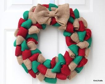 Burlap Wreath - Christmas Wreath - Wreath - Door Decor - Red and Green Wreath - Wreaths - Door Wreath - Holiday Wreath