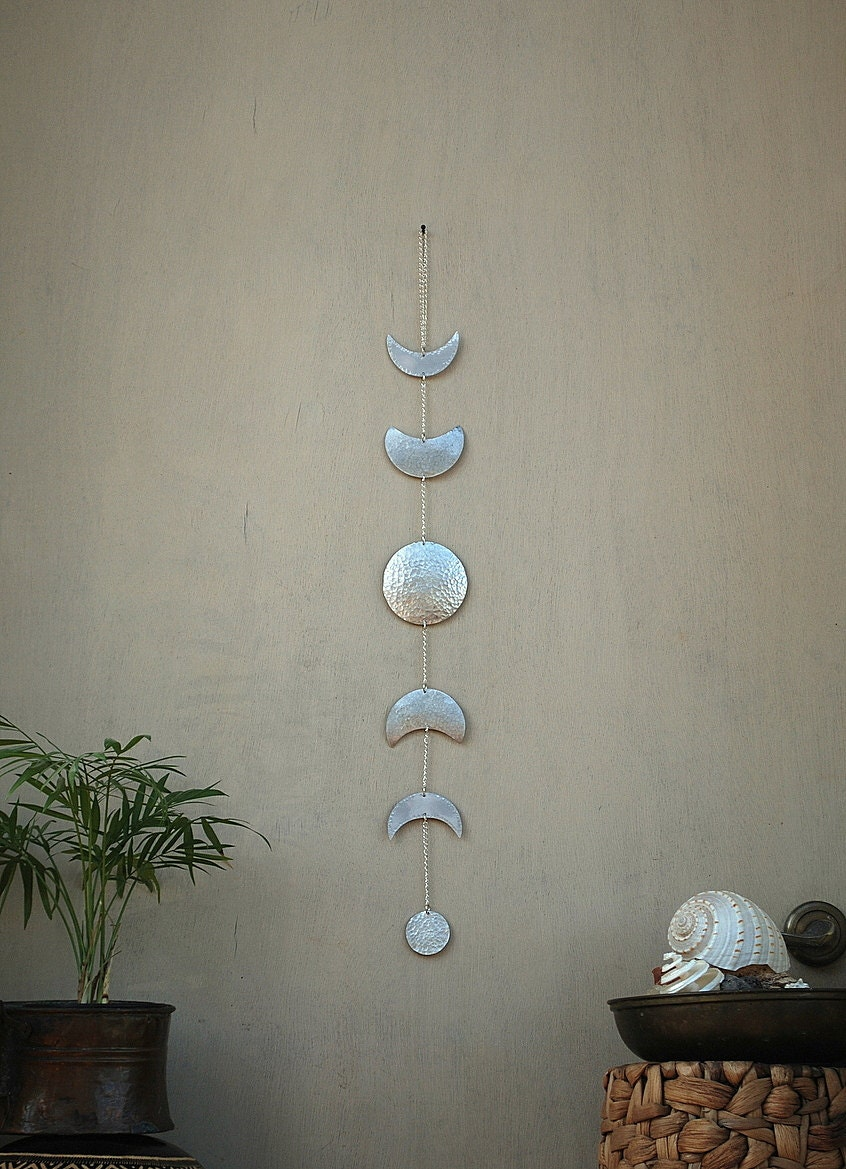 Moon Phases Wall Hanging Silver Full Moon Wall Decor Moon Wall