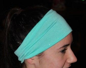 "6"" Yoga/Athletic Headband - Sparkly Mint Jersey"