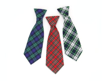 Preppy Tartan Dog Neck Tie Cat Necktie Navy Blue White Red Green Christmas Holiday Classic Plaid Pet Necktie