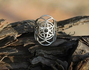 Kabbalah Ring, Flower of Life Ring, Sacred Geometry Jewelry, Occult Ring, Silver Occult Ring, Silver Kabbalah Ring, Mandala Ring