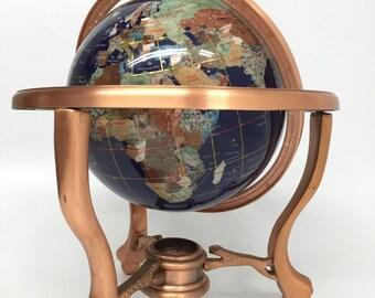 Blue Lapis Globe, Gemstone World Globe, Gemstone Globe, Tripod Stand, Lapis Lazuli Globe, Full Axis Globe, Copper Desk Globe