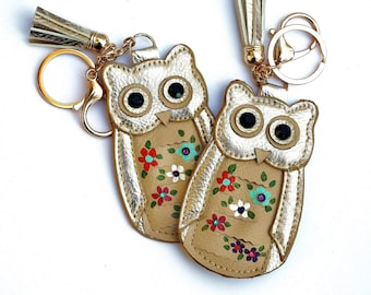 Owl Tassel Keychain Key Holder Painted Flowers Boho Chic Accessories FREE SHIPPING