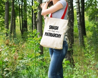 "Feminist Tote Bag: ""Smash the Patriarchy"" Tote from Fourth Wave Feminist Apparel. Great gift!"