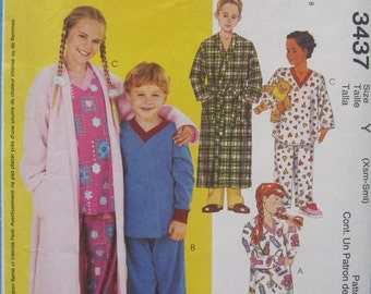 McCall's 3437. Kid's robe, nightgown, and pajamas pattern in sizes Xsm - Sml (3-4 - 5-6).  Pattern is uncut and factory folded.