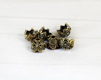 Antique Bronze Bead Caps 15x10mm, Large Metal Bead Caps, Craft Supplies, 2 pieces