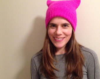 Bright pink pussy hat 100% Merino wool soft and warm quality made knit to order