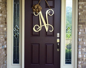 metal initial door wreath w ribbon front door wreaths monogram door hanger monogrammed wreath front door letters outdoor wreath decor
