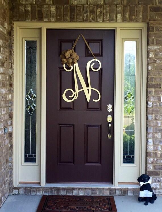 Metal initial door wreath w ribbon front door wreaths for Metal front doors for homes