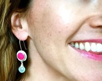 Hot pink raspberry chalcedony and aqua chalcedony earrings in sterling silver, chalcedony earrings, chalcedony jewelry, bridal earrings