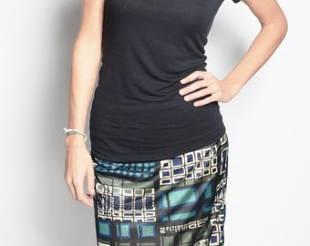 Geometric Print Silk Jersey Column Skirt - Fully Lined