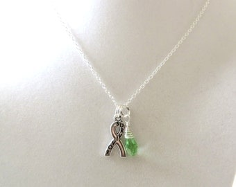 Lime Green Lymphoma Awareness Ribbon  Hope Survivor Silver Ribbon Pendant Necklace You Choose Ribbon Design