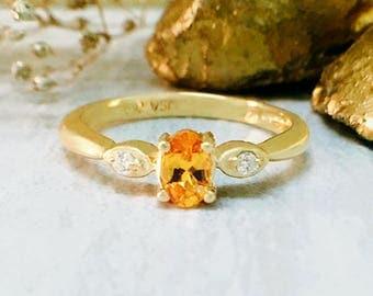 5x3MM Mandarin Garnet and Diamond Engagement Ring   Prong Setting   Solid 14K Gold   Fine Jewelry   Free Shipping