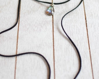 Leather wrap around choker necklace