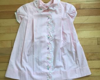 Vintage 1950s Girls Pink Lace Floral Embroidered Summer Dress! Size 4-5