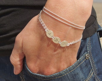 Simple silver bracelet Beaded bracelet Delicate bracelet Stackable bracelets Double layered bracelet Dainty bracelet Minimalist jewelry