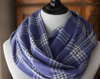 SCARF - Purple and White Plaid Flannel Infinity Scarf