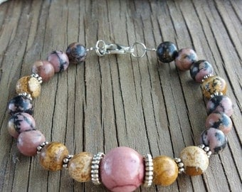 Womens bracelet Stone bracelet Rhodonite picture jasper mookaite jasper bracelet Anniversary gifts Gemstone bracelet Beaded bracelet Gifts