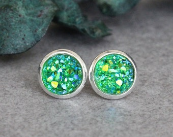Green Stud Earrings, Green Earrings, Green Druzy Earrings, Green Post Earrings, Green Druzy Stud Earrings, Small Green Earrings