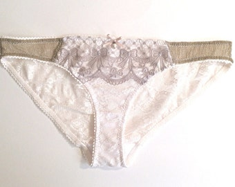 Ivory Lace Knickers, Gold Shimmer Fabric, Grey Lace Trim, Bridal Lingerie, Wedding Knickers, Gifts for Her, Miss Aurora, Mina Confidants