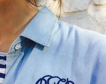 Monogrammed Cotton Long Sleeve Chambray Boyfriend Button Down Shirt
