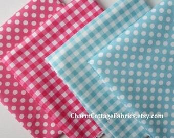 "SALE Retro Fat Quarter Bundle Aqua & Hot Pink Riley Blake Designs Quilter's Cotton Each FQ 18"" x 21"" Small Dots Medium Gingham 1/4"" Check"