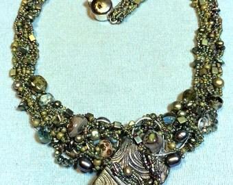 Dazzling Beaded Dusty Olive Bib Necklace