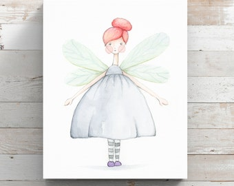 Fairy Girl Watercolor Canvas Print - Butterfly Girl Wrapped Canvas - Original Watercolor Art by Angela Weber