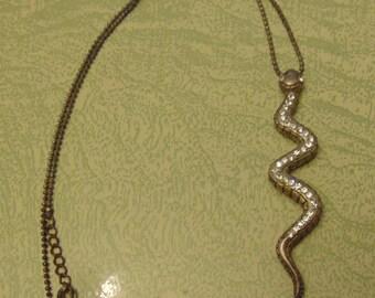 Silver tone rhinestone snake serpent necklace pendant jewelry ball chain