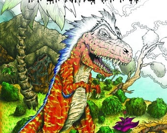 Fantasy Art Adult Coloring book, colouring book, Dinosaurs and Monsters and Mystical Creatures
