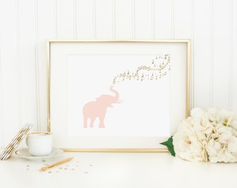 Elephant Blowing Music Printable Nursery Elephant Decor Blush Elephant Print Pink Nursery Wall Art Pink and Gold Nursery Art Girl Nursery