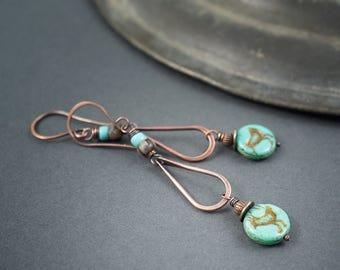 Rustic Tribal Earrings • Hand Forged Copper Drop Earrings • Native Bird • Turquoise Earrings • Long Ethnic Earrings • Oxidized Copper