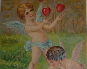 Cupid Juggling Hearts Antique PFB Valentine Postcard