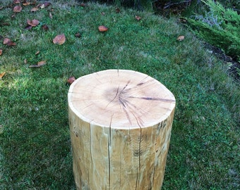 FREE Shipping in Canada! Re-claimed Cedar stump end table, natural finish cedar log side table, log furniture, Grown in Canada.