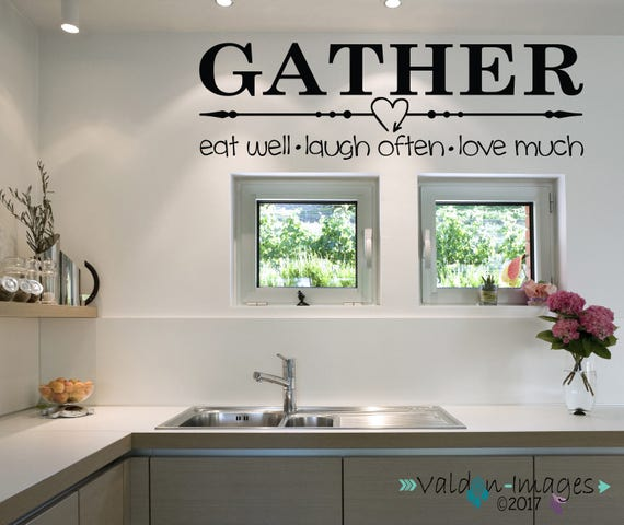 Country Kitchen Sayings And Quotes: Gather Quote Wall Decal Farmhouse Wall Decor Country Kitchen