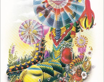 70's illustration design Alan Aldridge caterpillar psychedelic Esmeralda, Seraphina and Camill vintage print anthropomorphic 8.25x11 inches