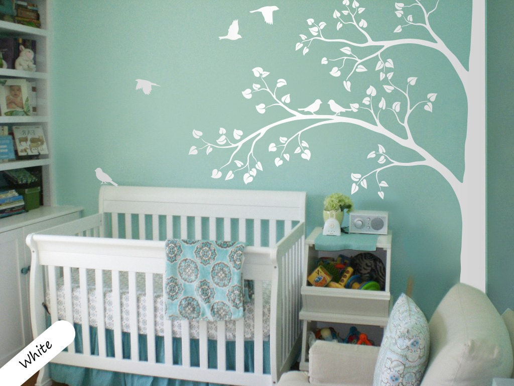 white tree wall decal huge corner tree with leaves and birds zoom