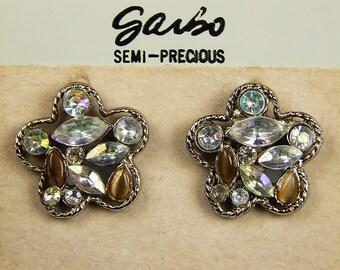 Vintage Rhinestone Garbo Earrings - Semi Precious - Post Back - Abraham And Straus - Vintage Earrings - Vintage Jewelry