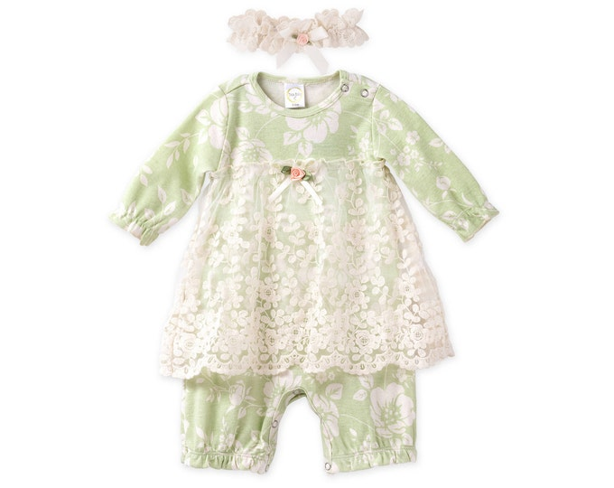 SUMMER SPECIAL! Baby Girl Lace Outfit, Newborn Girl Lace Outfit, Baby Skirted Romper, Baby Girl Dress, Baby Girl Green Romper RH54LPFIY1000