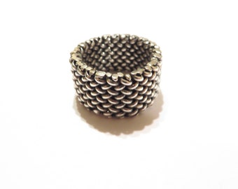 Vintage Sterling Silver Mesh Woven Ring