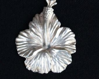 Vintage MING's of Honolulu sterling silver HAWAIIAN HIBISCUS Brooch