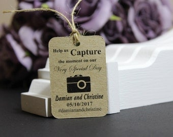 Personalised Handmade Wedding Favor Gift Tags, #InstagramWedding #brideandgroom photobooth photo props labels, rustic wedding decor  TGS20